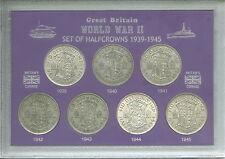 Los años de la segunda guerra mundial halfcrowns de la Segunda Guerra Mundial II 1939-1945 halfcrown Moneda Conjunto de Regalo