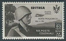 1934 ERITREA POSTA AEREA VOLO ROMA MOGADISCIO 80 CENT MH * - RR13618