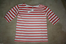 J.CREW LIGHTWEIGHT TERRY TEE IN STRIPE SIZE XS FLAME GUAVA