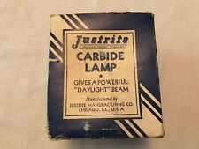 Justrite Mining Carbide Lamp Vintage Box And Directions Sheet