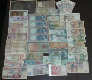 LOT OF 55 BANKNOTES FROM NEDERLAND BELGIUM FRANCE EGYPT CYPRUS ETC