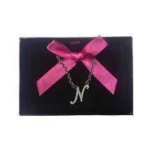 Collana iniziale N con strass in acciaio 40 cm con scatolina regalo by VIRCA