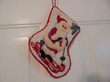 Vintage Bucilla Finished Needlepoint Christmas Stocking Santa skiing 60582