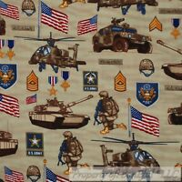 BonEful FABRIC FQ Cotton Quilt Brown Gold USA Army Special Forces Military Badge