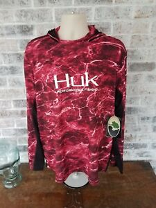 Mossy Oak Huk Performance Fishing Icon Red Camo XL Long Sleeve Shirt H1200131