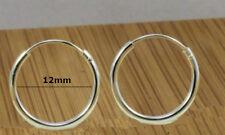 925  Sterling Silver Sleeper Earrings ,12 mm diameter - Hinged - Unisex