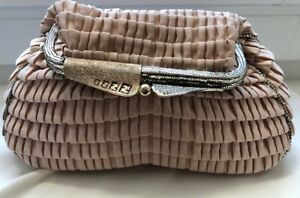 Authentic Fendi Borderline Satin Clutch Handbag