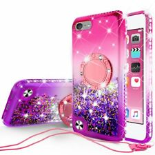 iPod Touch 5/6th Generation Cute Liquid Glitter Phone Case Girls Kickstand Pink