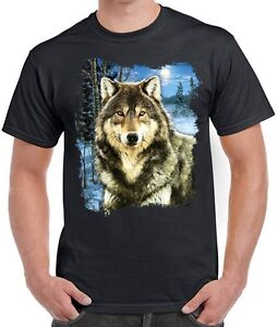 Wolf Shirt, winter howling wolf, Snow & Forest Scene T-Shirt, Small - 5X