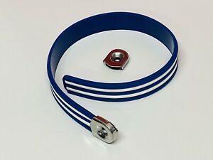LAMBRETTA VESPA BIEMME ROYAL BLUE WITH WHITE STRIPES RUBBER PASSENGER SEAT STRAP
