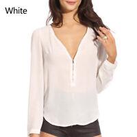 Fashion Women V Neck Zipper Chiffon Blouse Long Sleeve Casual Tops Ladies Shirt