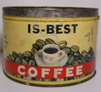Vintage 1950s IS-BEST COFFEE GRAPHIC KEYWIND COFFEE TIN ONE POUND VAN WERT OHIO