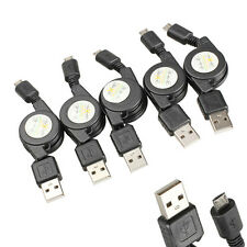 5x Micro USB to USB Retractable Cable Data Sync Charging Cable Cord Wire Black