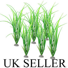 "UK LARGE 12"" + 6x Aquarium Fish Tank Artificial Plastic Plants Green Ornament"