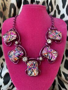 Betsey Johnson Harlem Shuffle Graffiti Art LARGE Crystal SPARKLY Pink Necklace