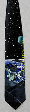SPACE STATION EARTH MOON ASTRONOMY SCIENCE Ralph Marlin Silk Necktie NEW! RARE!