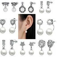 Authentic 925 Sterling Silver Dangle Stud Ear Earrings For Women Jewelry Gifts