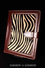 iPad 2 3 & 4 (Brown Fur Zebra Print) Real Genuine Leather Cover Case Stand Folio
