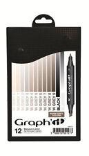 Graph It Marker Pen Set - 12 Colour Box - Warm  Greys