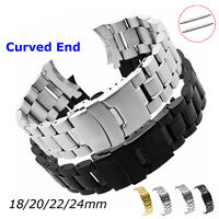 18-24mm Solid Stainless Steel Watch Band Double Secure Buckle Curved Metal Strap