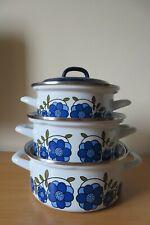 More details for taunton vale blue daisy set of 3 enamel casserole dishes vintage 1970s vgc