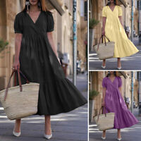 Women Summer Long Maxi Dress Tiered V Neck Layered Kaftan Plus Size Ladies Dress