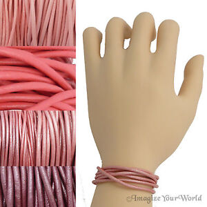 Pink Leather Cord Multi Wrap Bracelet Custom Handmade to 72 inches USA necklace