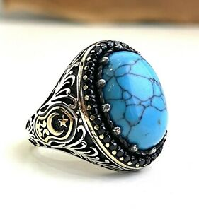 Unique Mens Ring Vintage Turquoise Stone Vintage Style Mens 925 Sterling Silver