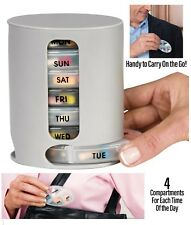 Weekly Handy Pill Organiser Tower 7 Daily Boxes 4 Compartments Tablet Holder