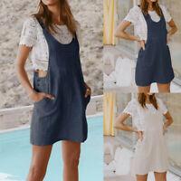 Women Sleeveless Braces Club Plus Size Dress Dungarees Pinafore Beach Mini Skirt