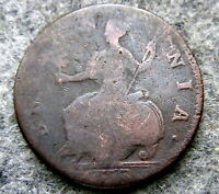 GREAT BRITAIN GEORGE II 1753 HALF PENNY, US COLONIAL COIN, COPPER