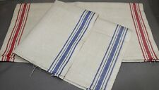 2 VINTAGE LINEN TEA TOWELS-RED STRIPE/BLUE STRIPE