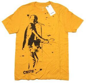 Converse Men's Yellow Graphic Print Crew-Neck Short Sleeve T-Shirt