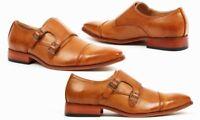 Handmade Men's Genuine Tan Leather Double Monk Oxford Toe Cap Shoes