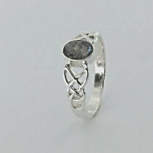 Size 8 - Genuine Natural Oval Celtic LABRADORITE Ring - 925 STERLING SILVER #117
