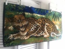 Vintage 40 in. X 19 in. Spotted LEOPARD Boho velvet Wall Hanging Tapestry