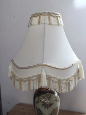 "CLASSIC SCALLOPED & TASSELLED CREAM / BEIGE LAMP SHADE 13 3/4"" T"