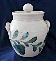Salmon Falls Stoneware Pottery Cookie Jar 2 Handle Green Pennsylvania Leaf, 2003