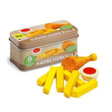 Wooden chicken leg and chips in a tin by Erzi pretend play grocery shop toy food