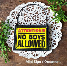 DECO Mini Fun Sign Ornament ATTENTION NO BOYS ALLOWED  Wood Girls Bedroom NEW