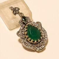 Natural Zambian Emerald White Topaz Pendant 925 Sterling Silver Turkish Jewelry