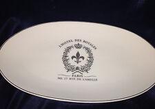 """L'HOTEL DES ROYALES FRANCE OVAL PLATTER 12"""" PLATINUM PARIS N 17 RUE DE L'ABEILLE"""