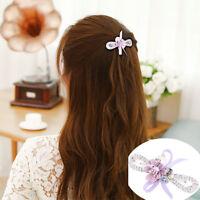 Eg /_ LC/_ 2 Stück Mode Blume Schleifenknopf Strass Damen Haarnadel Klemme Haare