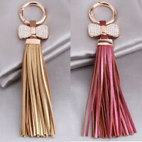 ITS- KQ_ Fashion Women Bow Faux Leather Tassels Car Keychain Key Ring Bag Chain