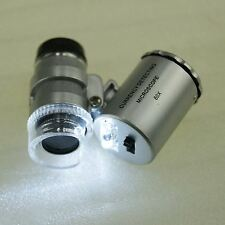 Mini Pocket LED UV Jewellers Loupe 60x Microscope Glass Jewellery Magnifier