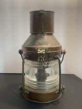 Vintage Anchor Ship Lantern Nautical Oil Lamp 13� x 6 1/2� ~ Copper & Brass