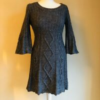 Next Grey Fit and Flare Wool Blend Cable Knit 3/4 Sleeve Dress UK 8 / 10