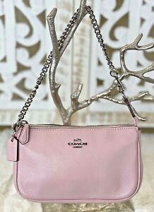 COACH Pebbled Leather Wristlet Chain F53340 Evening Handbag Clutch PETAL PINK