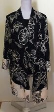 Mirrors Plus Size 18 Blouse Jacket Top Shirt Black Floral Stretch Polyester