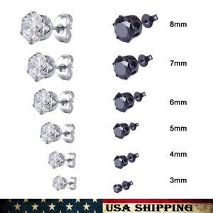 New Black White Round Cubic Zirconia for Men/Women Stainless Steel Stud Earrings